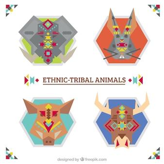 Animaux géométriques emballer dans un style ethnique