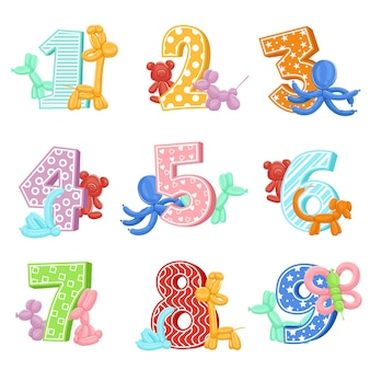 Animaux gonflables avec numéros d'anniversaire
