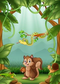 Les animaux heureux d'une activité dans la jungle