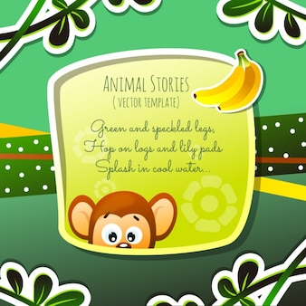 Animaux histoires, singe et bananes