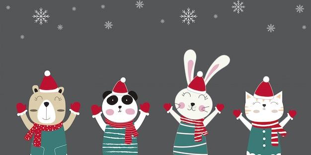 Animaux d'hiver mignons. joyeux noel et bonne année.