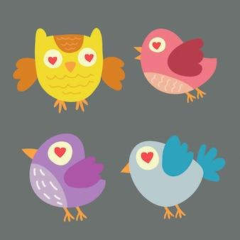 Animaux icônes de dessin animé avec oiseau