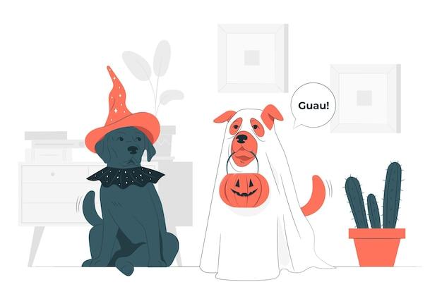 Animaux avec illustration de concept de costumes halloween