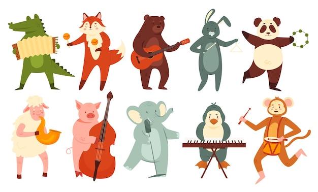 Les animaux jouent de la musique mis ensemble mignon orchestre de musiciens d'animaux domestiques ou sauvages jouant