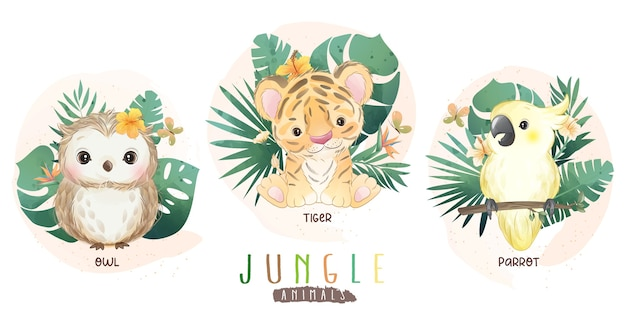 Animaux de la jungle mignons avec collection florale