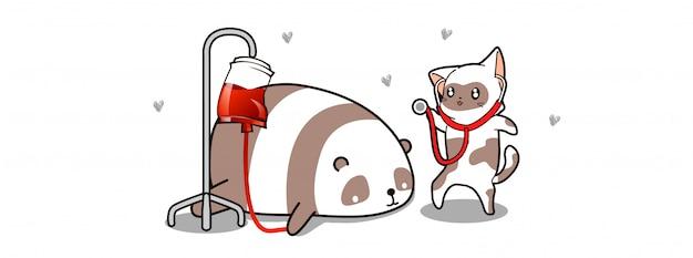 Animaux kawaii en illustration de la journée de la santé