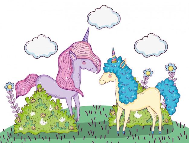 Animaux licornes avec des nuages et des plantes d'arbustes