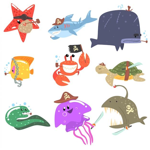 Animaux marins et faune sous-marine avec accessoires et attributs de pirate ensemble de personnages de dessins animés comiques
