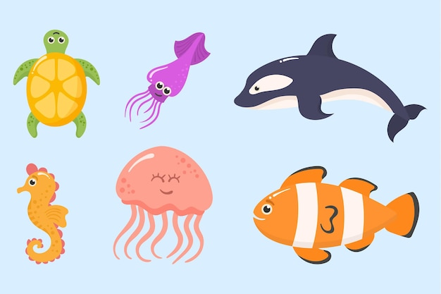 Animaux marins de l'océan plantes aquatiques créatures sous-marines tropiques drôles ensemble de poissons d'aquarium exotiques
