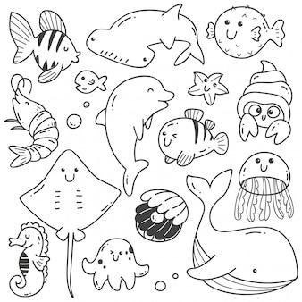 Animaux de la mer doodle dessin au trait kawaii