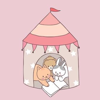 Animaux mignons de bande dessinée en lisant un livre