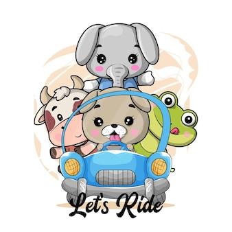 Des animaux mignons de bande dessinée montent des illustrations de voiture pour les enfants