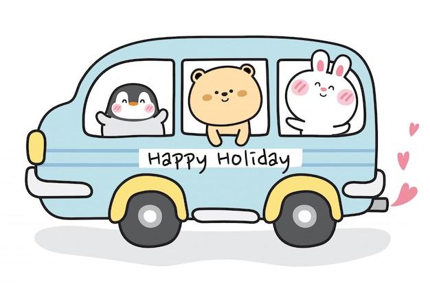 Animaux mignons sur bus bleu avec texte de joyeuses fêtes.