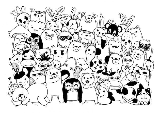 Animaux mignons - chat, ours, vache, lapin, abeille et carotte, dans un style kawaii.