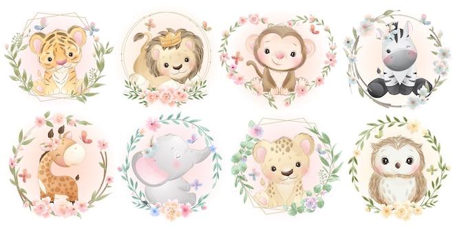 Animaux mignons avec collection florale