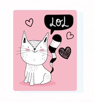 Animaux mignons croquis dessin animé de la faune adorable chat félin coeurs d'amour