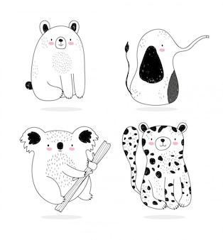 Animaux mignons croquis dessin animé de la faune adorable ours léopard koala et éléphant