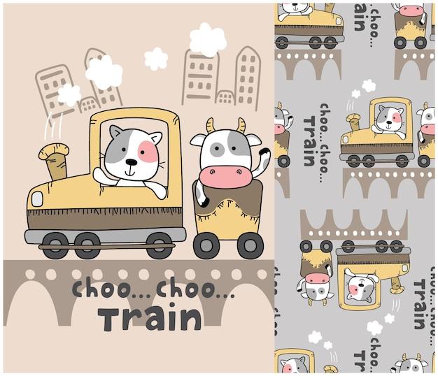 Animaux mignons dans le train avec motif sans couture