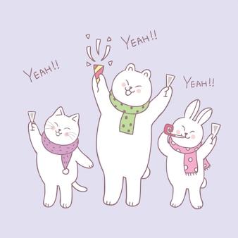 Animaux mignons de dessin animé célèbrent le vecteur bonne année.