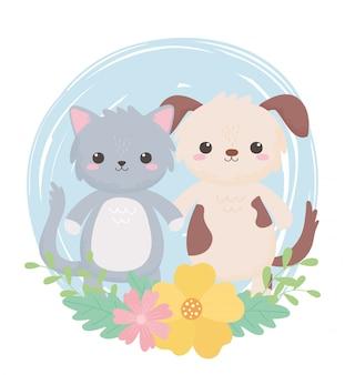 Animaux mignons de dessin animé de feuillage de fleurs de chat et de chien dans un paysage naturel