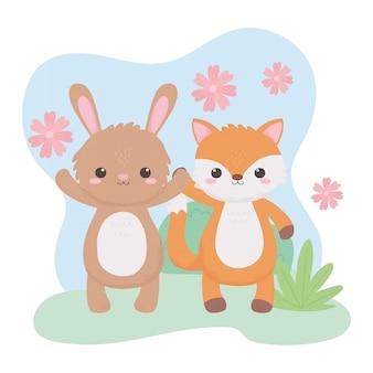Animaux mignons de dessin animé de feuillage de fleurs de lapin renard dans un paysage naturel