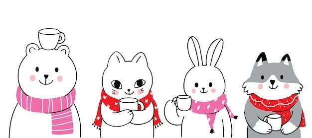 Animaux mignons de dessin animé hiver boivent du café