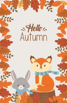 Animaux mignons disant bonjour saison d'automne