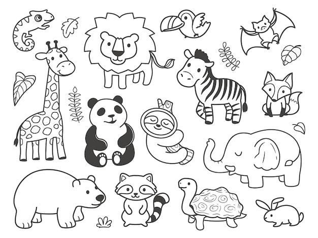 Animaux mignons doodle dessinés à la main