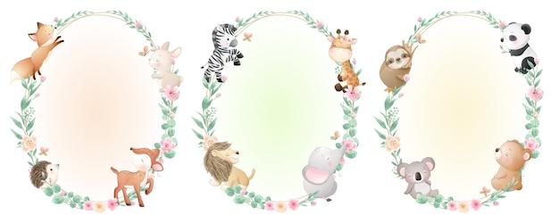 Animaux mignons de griffonnage avec collection florale