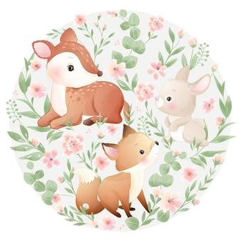 Animaux mignons de griffonnage avec illustration florale