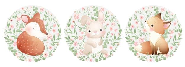 Animaux mignons de griffonnage avec illustration de jeu floral