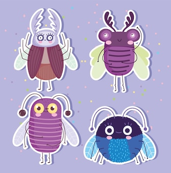 Animaux mignons insectes insectes dans l'illustration de la collection d'autocollants de style dessin animé