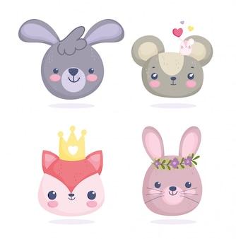 Animaux mignons, petits visages de souris renard dessin animé lapins