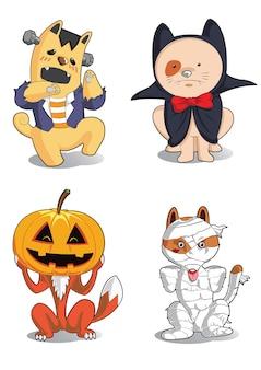 Animaux mignons, portant des costumes d'halloween