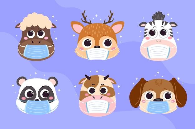 Animaux mignons portant des masques faciaux