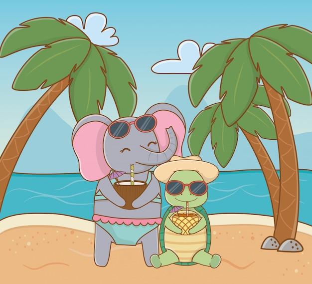 Animaux mignons, profitant des vacances d'été