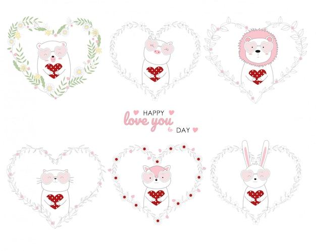 Animaux mignons de style dessinés à la main tenant coeur rouge