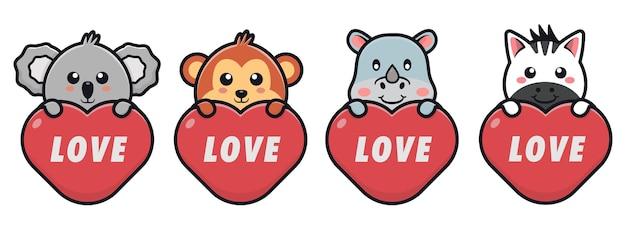 Animaux mignons tenant illustration d'icône de dessin animé d'amour