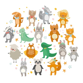 Animaux mignons, zoo drôle, lion, chat, crocodile, renard, chien, hibou, mouton, ours, lièvre.