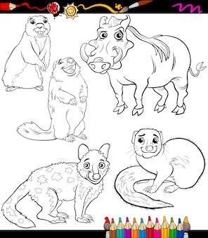 Animaux mis dessin animé livre de coloriage