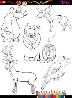 Animaux mis dessin animé page à colorier