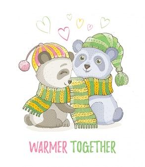 Animaux de noël mignons, croquis couple d'ours panda en écharpes tricotées. joyeux noël et nouvel an bande dessinée illustration vectorielle aquarelle.