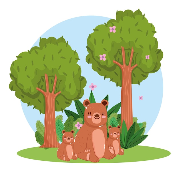 Animaux, ours, feuillage arbre, dessin animé