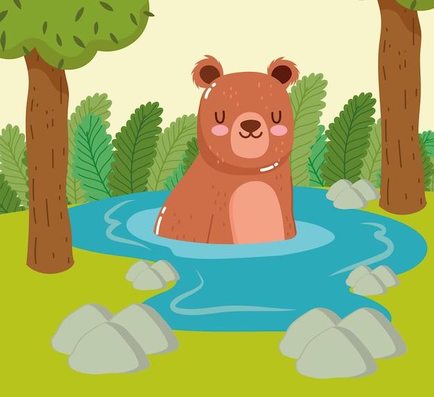 Animaux ours natation arbres dessin animé