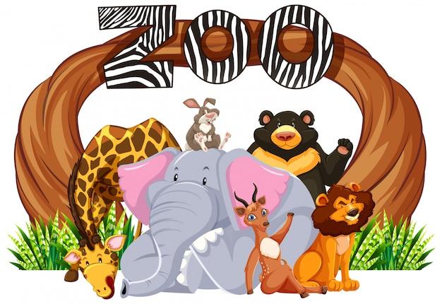 Animaux avec panneau d'entrée du zoo