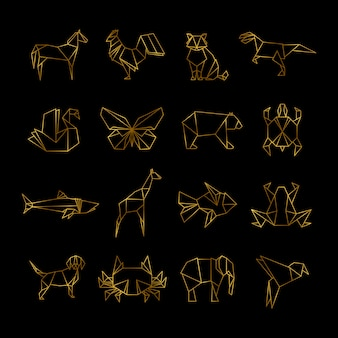 Animaux de papier origami japonais doré vector icons ligne