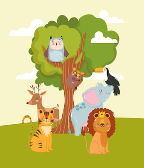 Animaux personnages dessin animé arbre sauvage