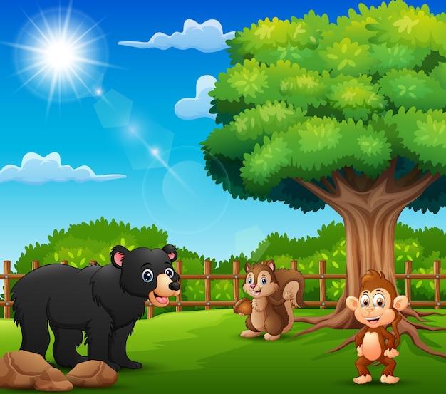 Les animaux profitent de la nature près de la cage