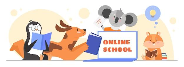 Animaux qui étudient en classe en ligne