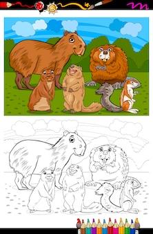 Animaux de rongeurs dessin animé livre de coloriage